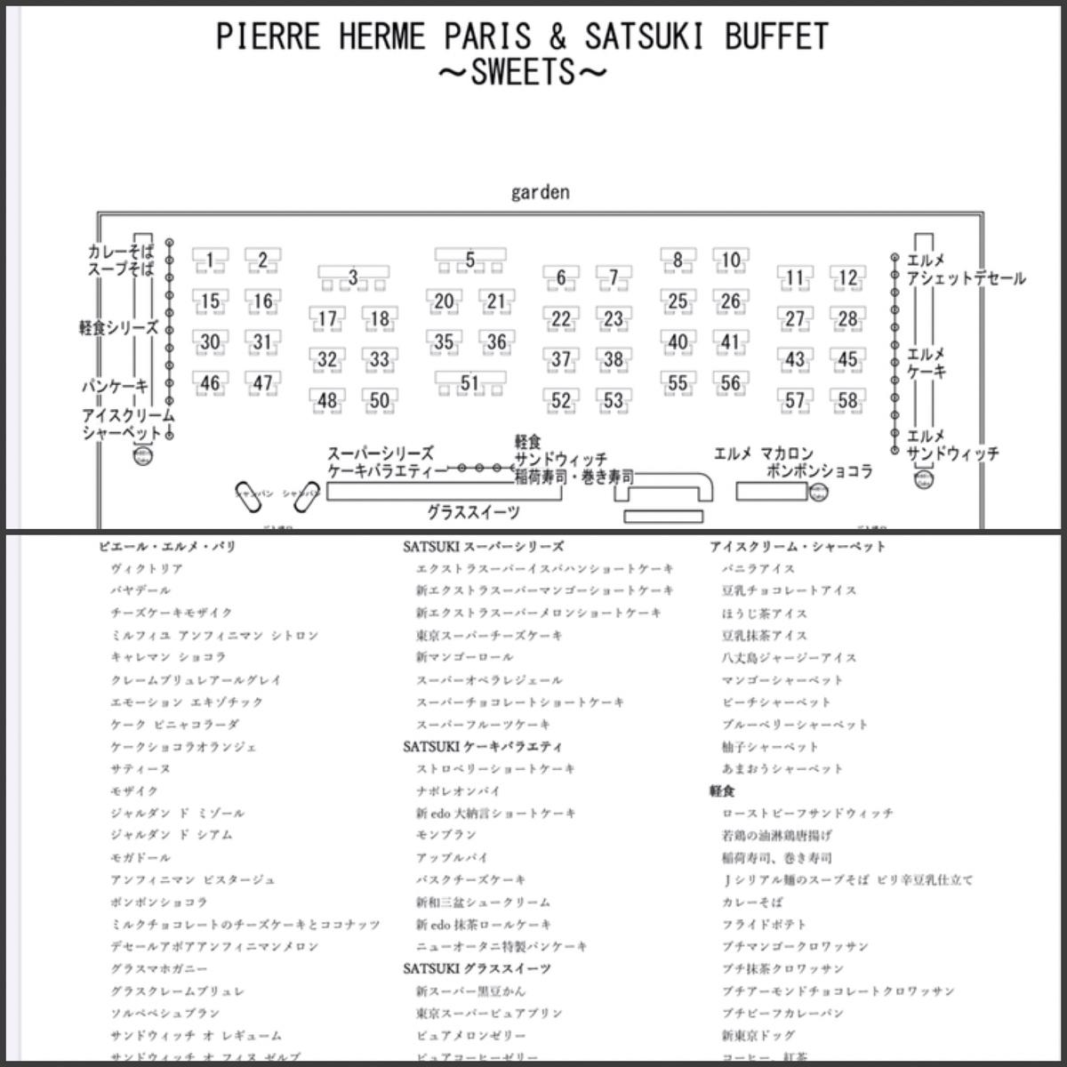 2020年7月 ホテルニューオータニ東京 ピエール・エルメ・パリ& SATSUKI BUFFET~SWEETS ~のメニューと席次表