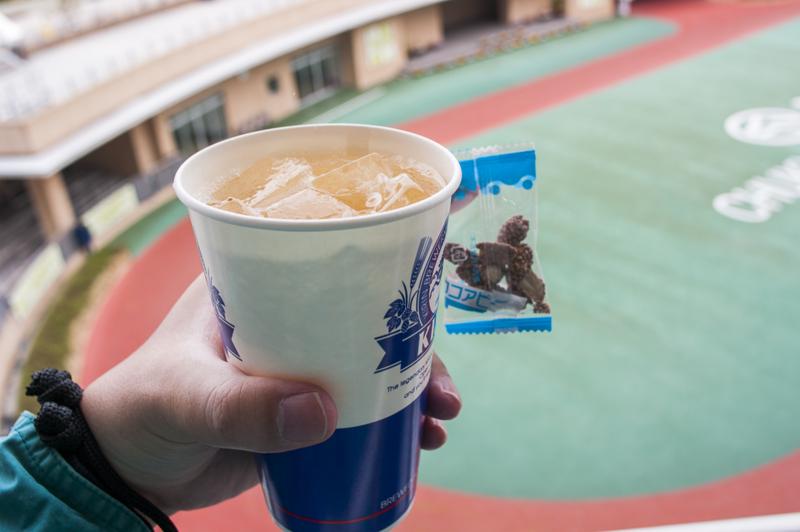 中京競馬場のトップのラッキーハイボールとおまけのココアピー