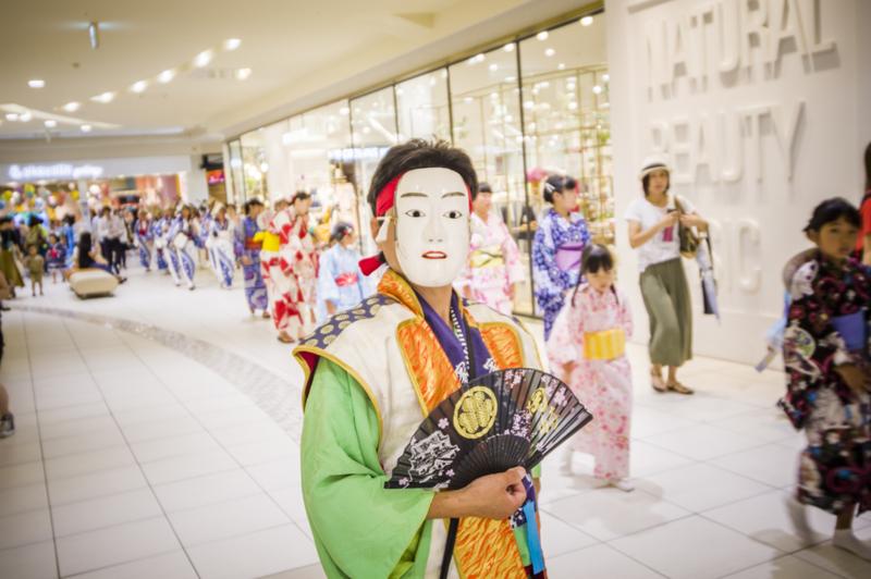 岡崎城下家康公夏まつりイオンモール岡崎店の中で盆踊り正調五万石流し踊り