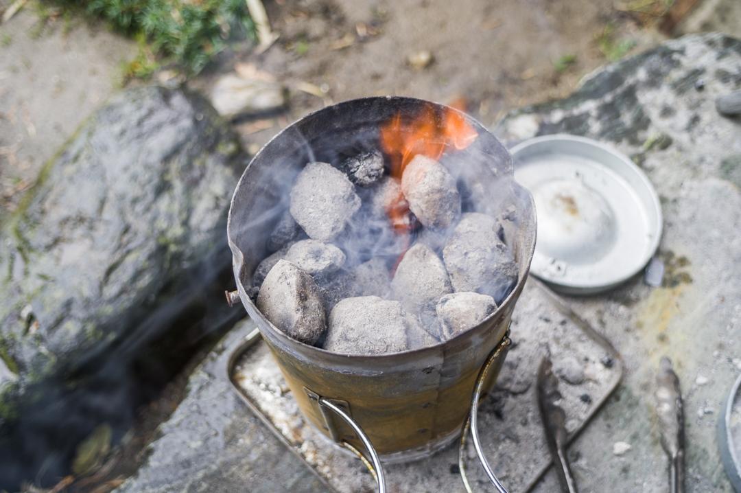 火おこし器 バーベキュー 煙突効果