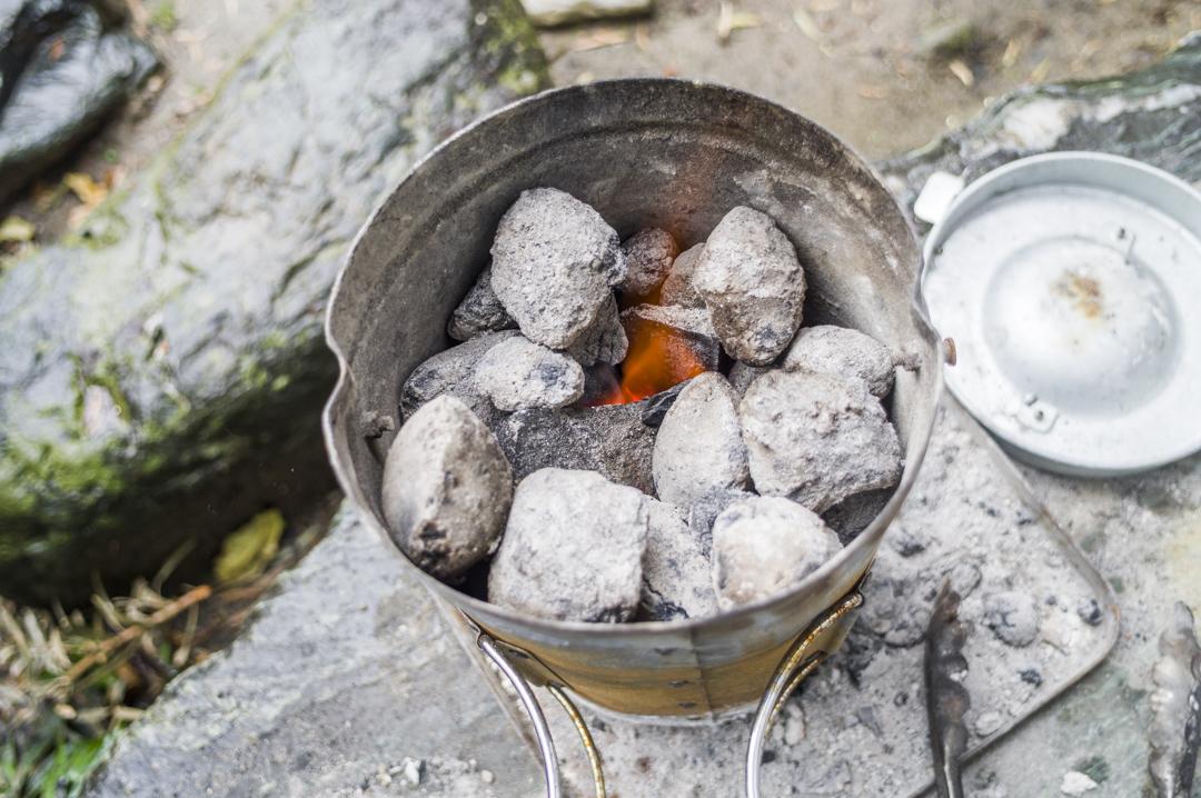 火おこし器 炎の変化 バーベキュー