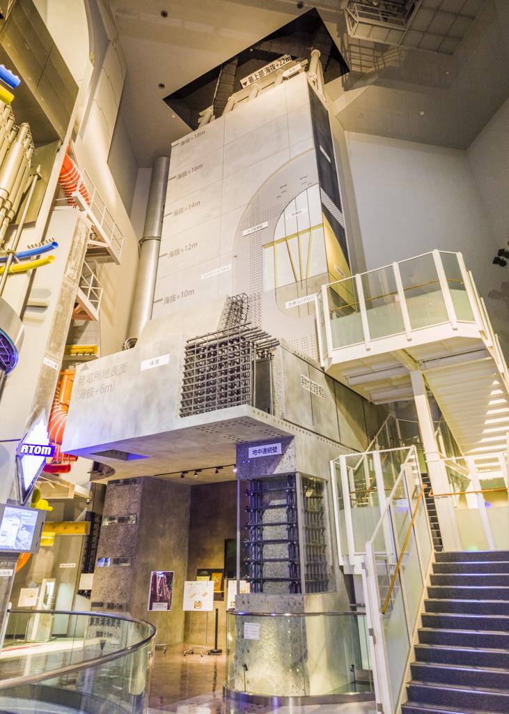 浜岡原子力発電所の防護壁の実物大防波壁模型