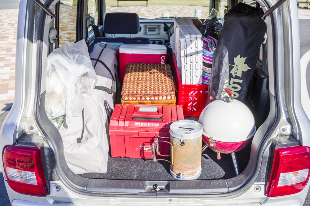 軽自動車でも収納できるキャンプグッズの量