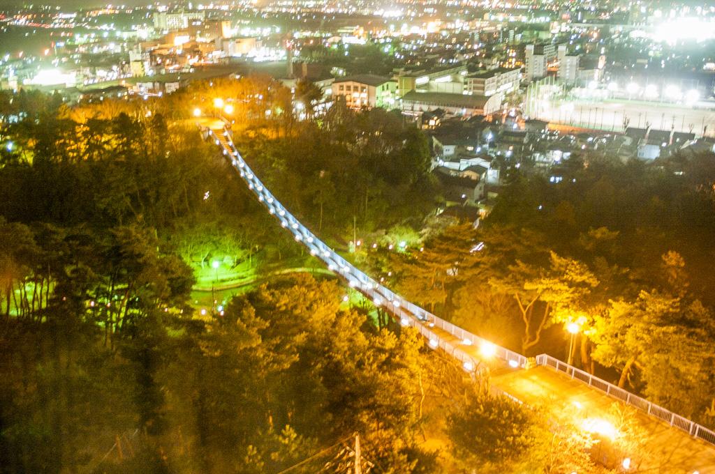 八幡山公園の宇都宮タワーからアドベンチャーブリッジを見下ろしたイルミネーション夜景