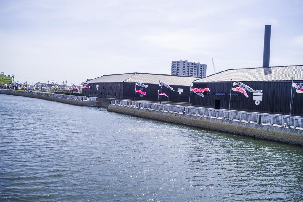 半田運河の鯉のぼり風景