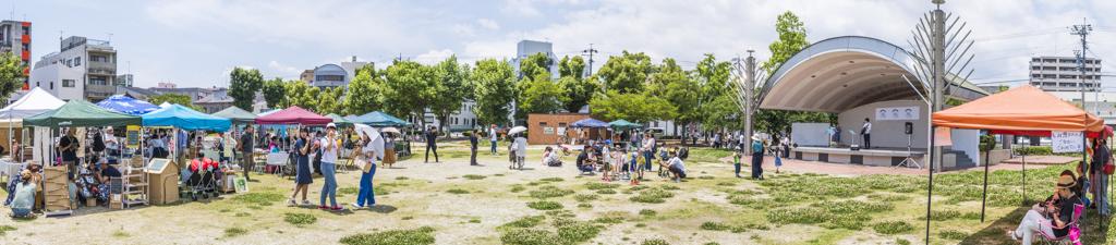 愛知県岡崎市籠田公園88フェス2018年のステージと全体風景