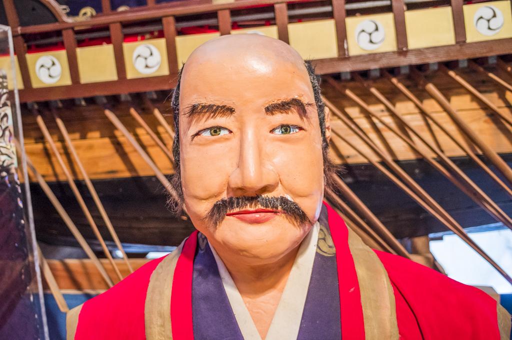 海の博物館にある水軍大将九鬼嘉隆の人形