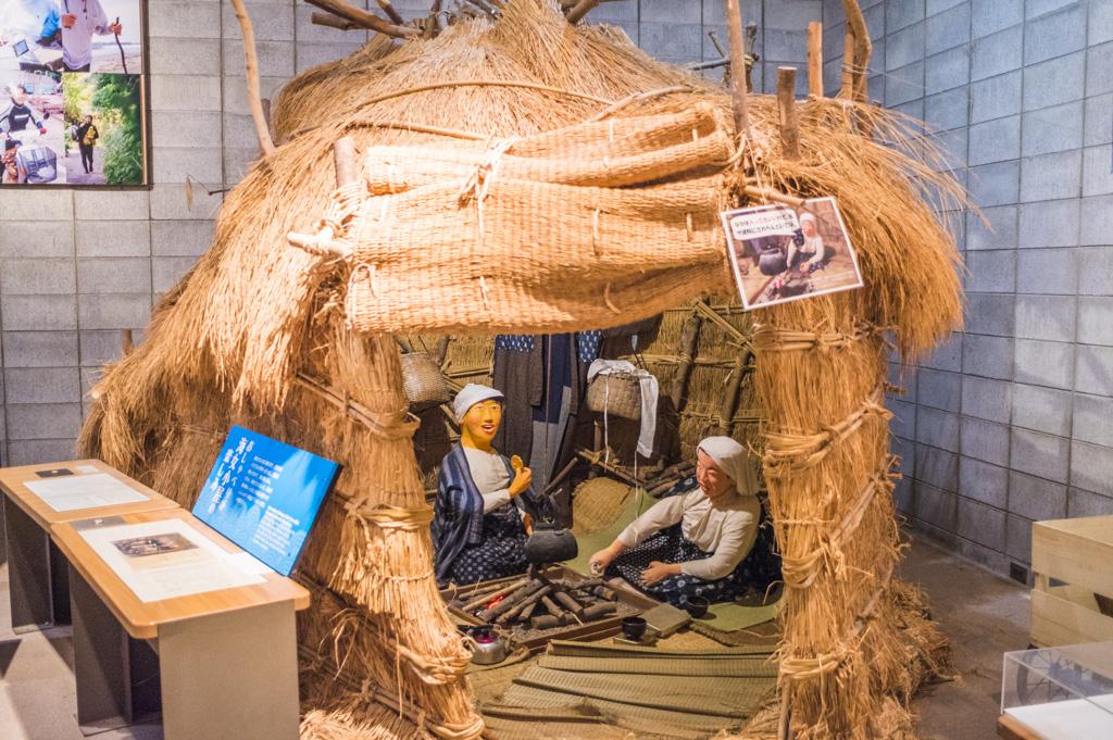 海の博物館にある海女小屋の展示