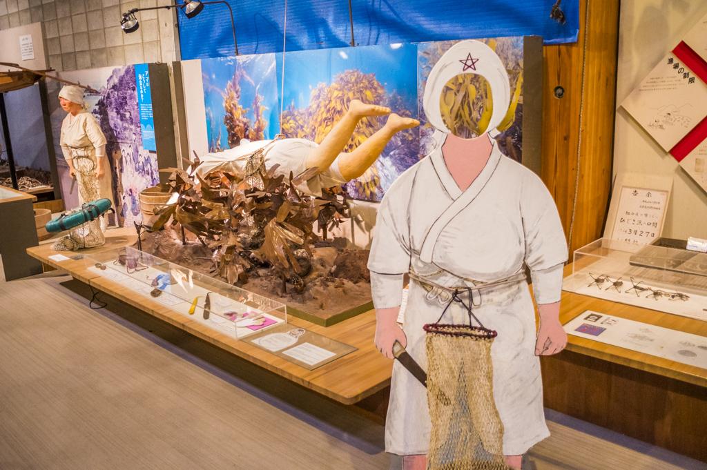 海の博物館の海女の顔はめパネル