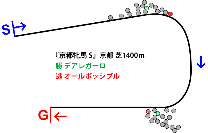 京都牝馬ステークス2019年のレース展開位置取り図