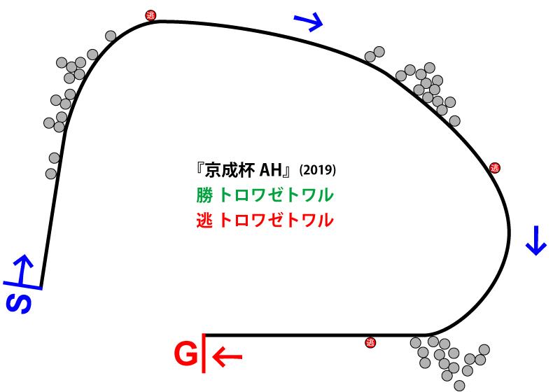 京成杯オータムハンデ2019年のレース展開位置取り図
