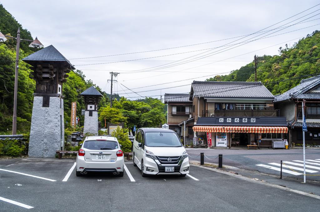 鳳来寺山門前町の駐車場