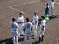 フェニックスリーグ終了後の岳野・中田・米野・荒川(南郷スタジアム