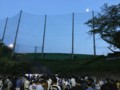 20150922西武第二球場と月(17:56)