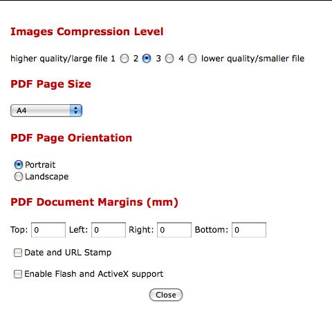 Web2PDF option