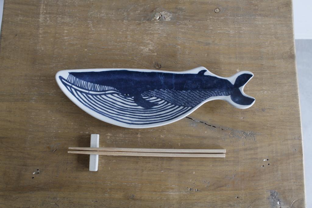 印判手長皿 クジラ
