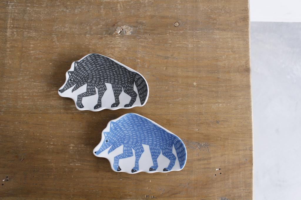 印判手豆皿 オオカミ グレー/ブルー