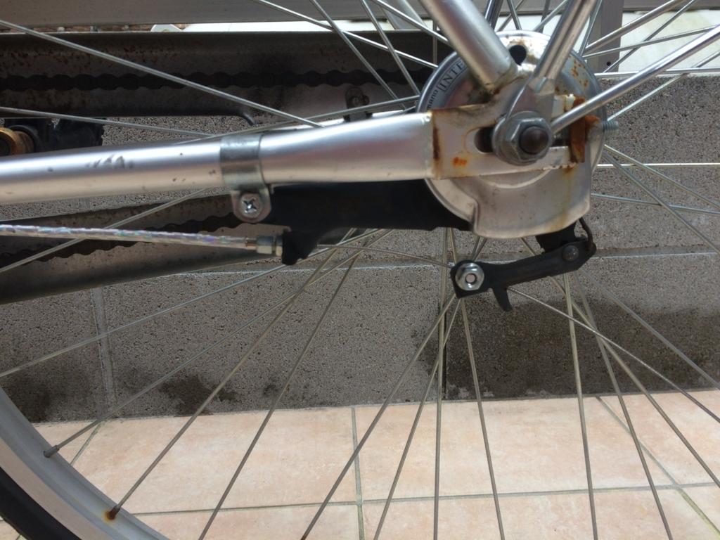 自転車の後ろブレーキワイヤーの組み付け