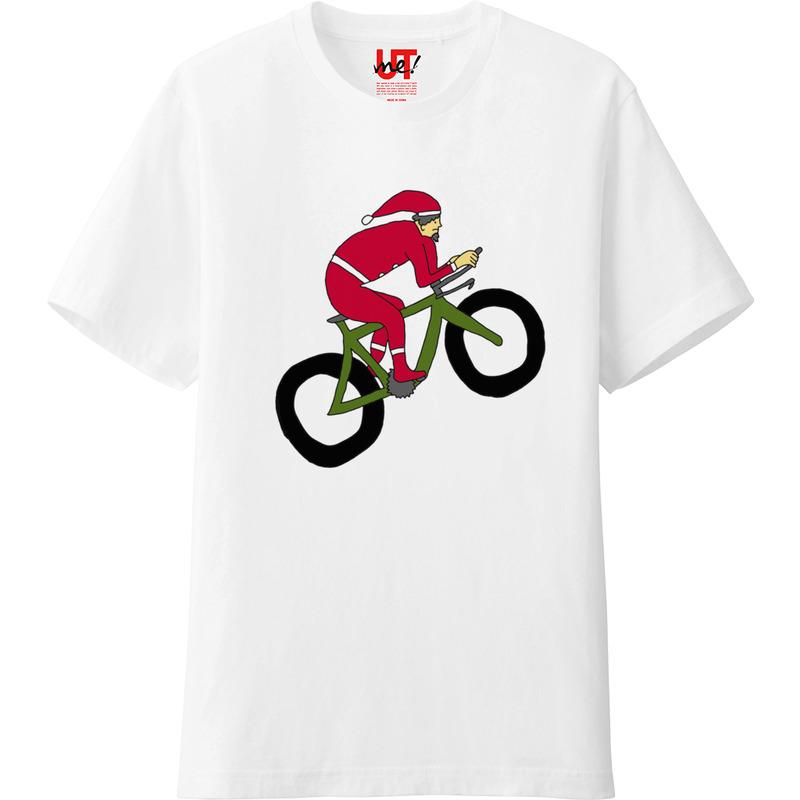 ユニクロアプリで作成したクリスマスのサンタクロースの自転車Tシャツ