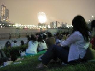 南千住:すいじん大橋から隅田川花火大会を鑑賞