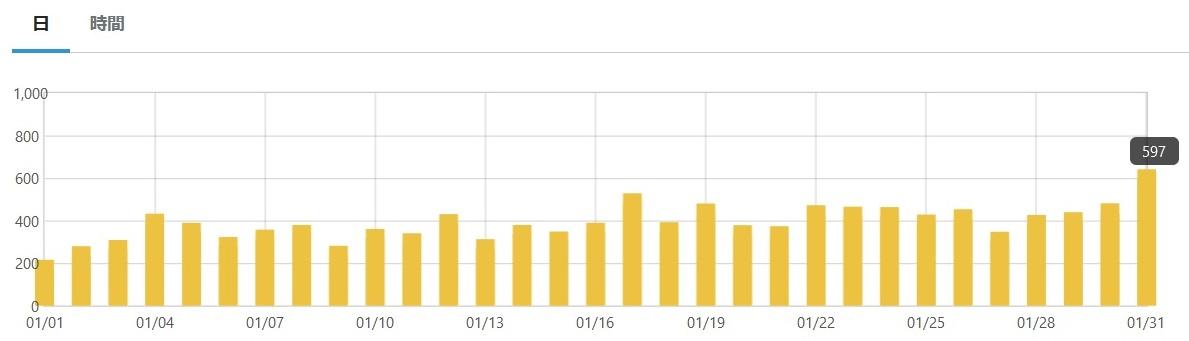 12ヶ月目(1月)のアクセス状況