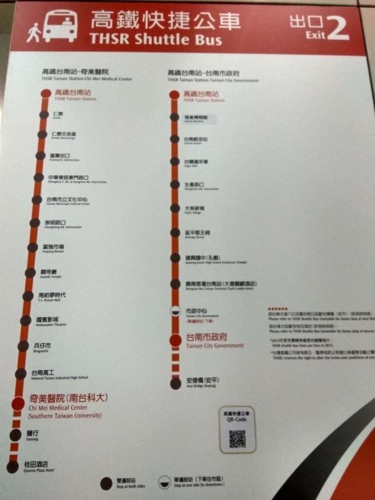 高鐵台南駅シャトルバス路線図