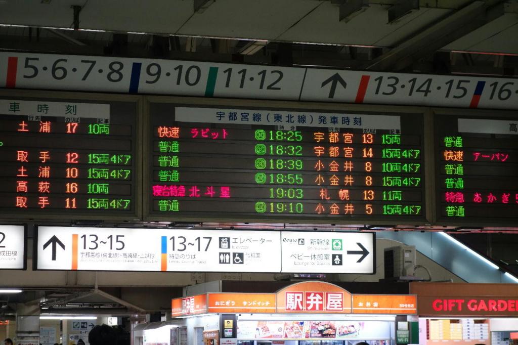 上野駅中央改札口の発車案内で表示される北斗星の文字