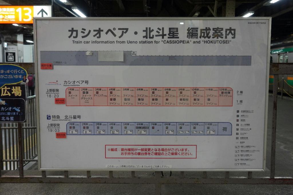 上野駅13番線に設置されるカシオペア・北斗星編成案内