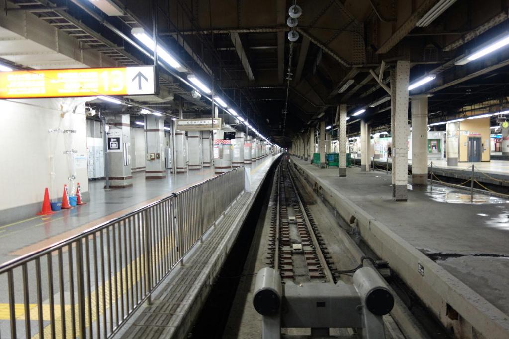 上野駅13番線ホームの車止め