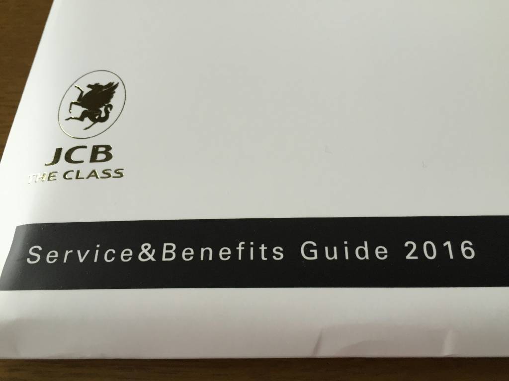JCB THE CLASS Service and Benefits Guide 2016の封筒