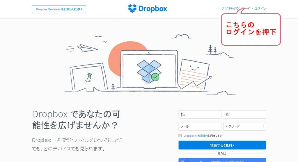 Dropboxのトップ画面