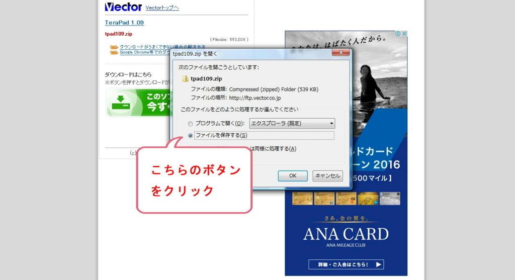 vectorのソフトダウンロード画面(PCへファイル保存)