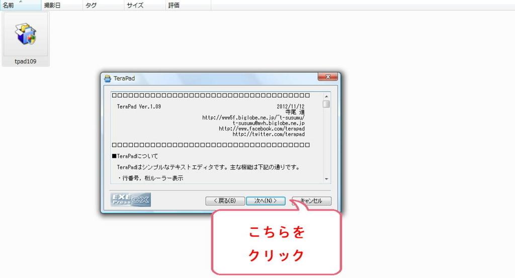 vectorからダウンロードされたファイルのインストーラー画面(ソフト詳細)