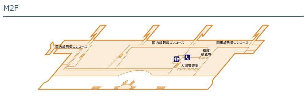 仙台国際空港ターミナルビル2階のフロア図(中2階)