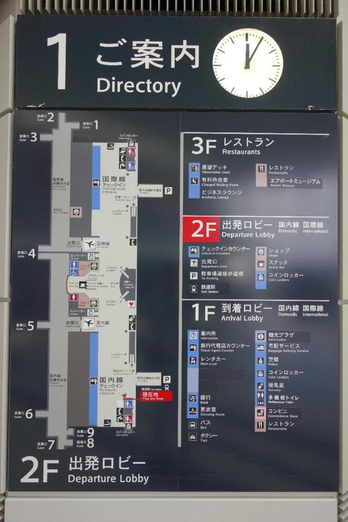 仙台国際空港ターミナルビル2階に掲示される案内板