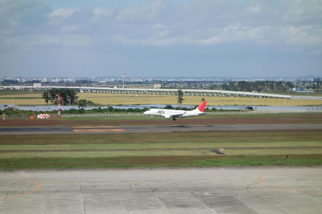 仙台国際空港の屋上展望デッキから見る駐機場(JAL機)