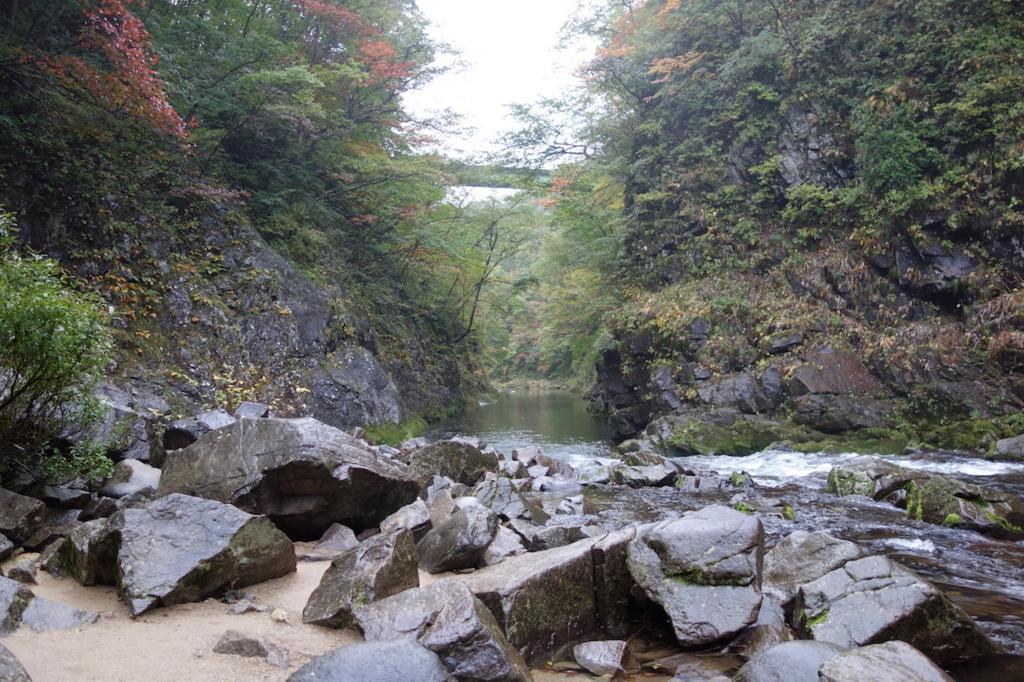 秋保大滝滝壺への道(滝壺から見た秋保温泉方面)
