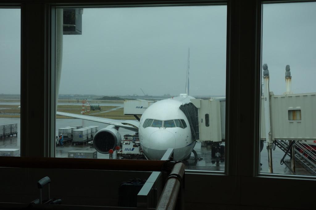 那覇空港内から見たANA1864便(平成30年1月19日)