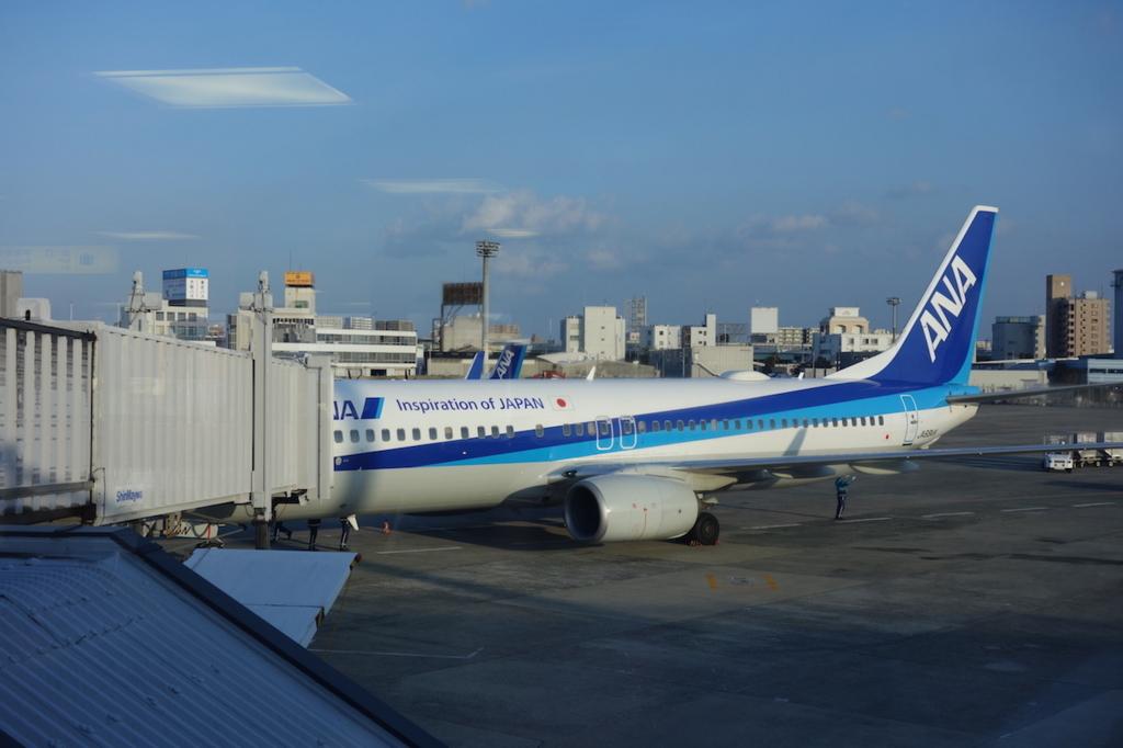 大阪国際空港から見たANA737便(平成30年1月23日)