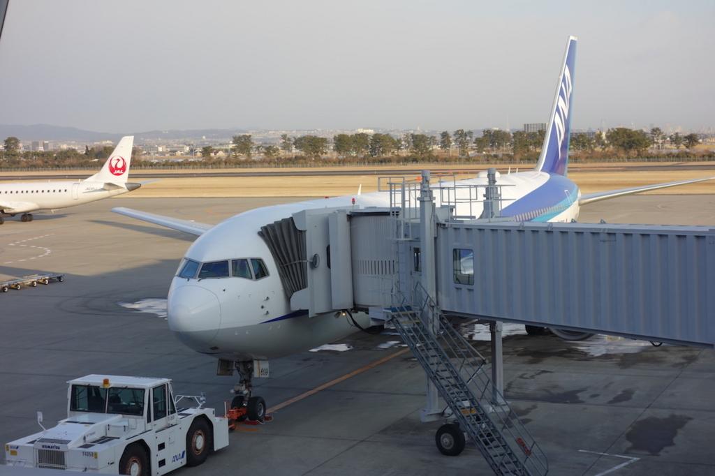 空港内から見たANA732便(平成30年2月5日)