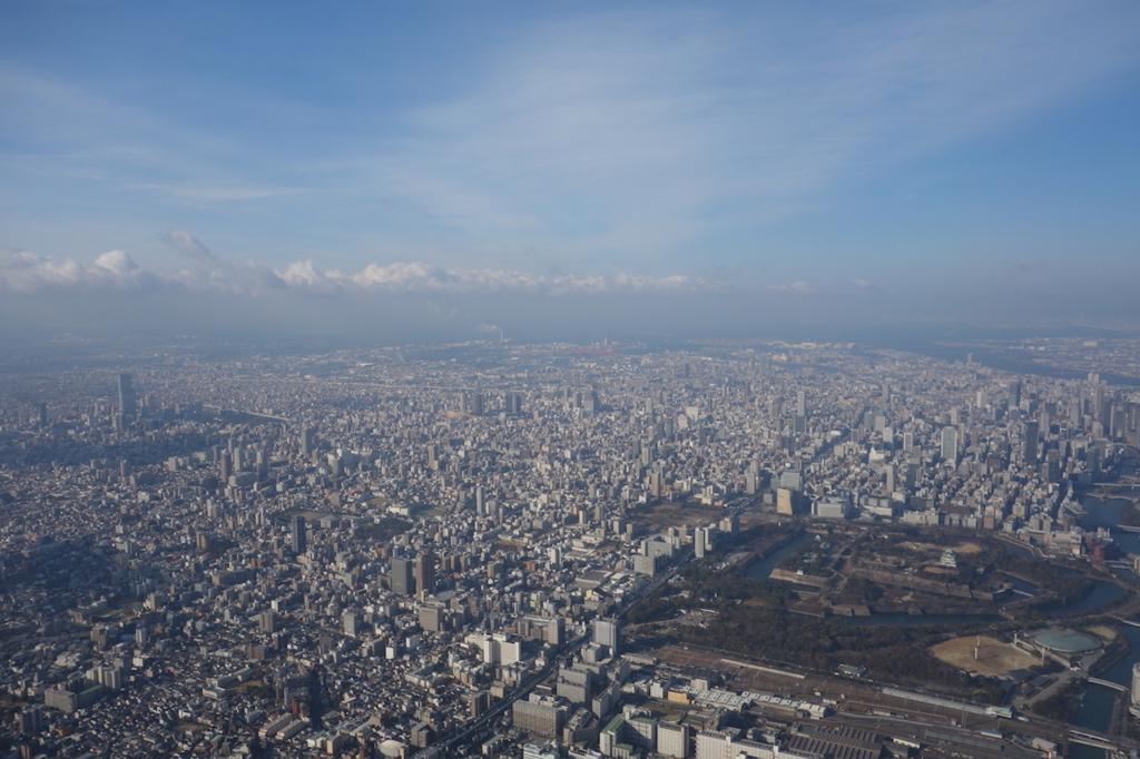 ANA732便から見た大阪城付近の上空(平成30年2月5日)