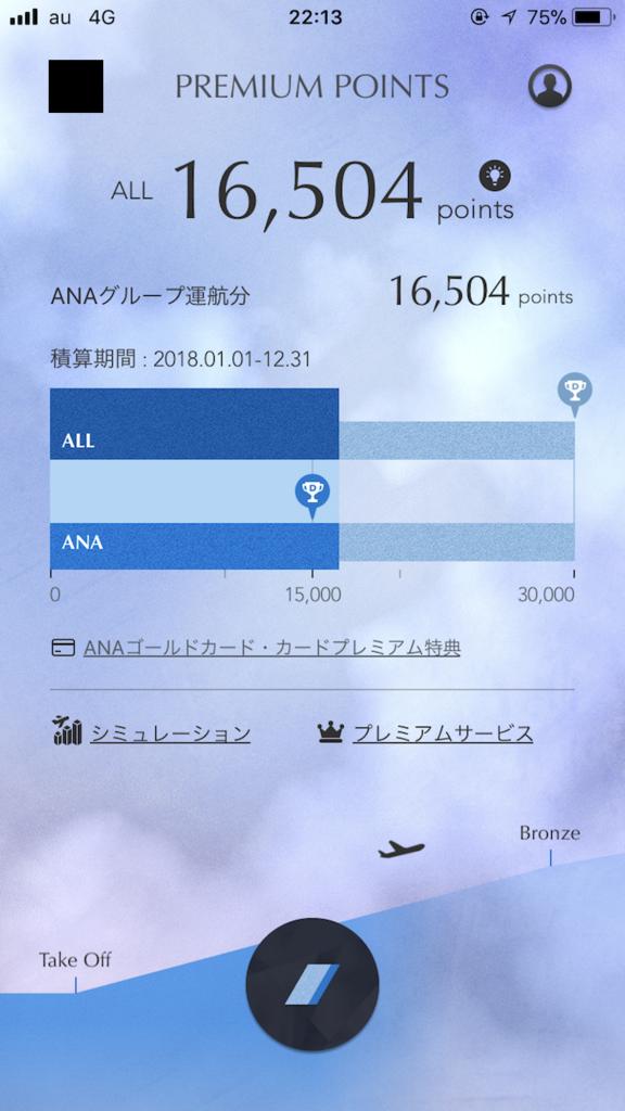 ANAのMileageアプリ画面(SFC修行第三回目)