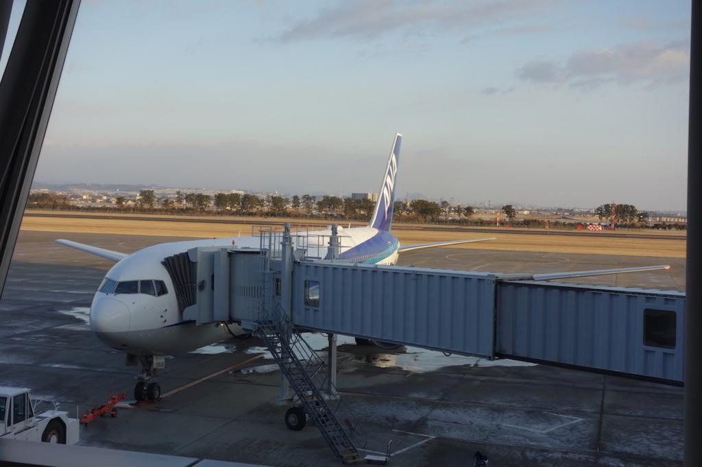 空港内から見たANA732便(平成30年2月21日)