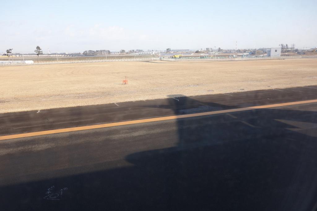ANA732便から見た仙台国際空港の滑走路(平成30年2月21日)
