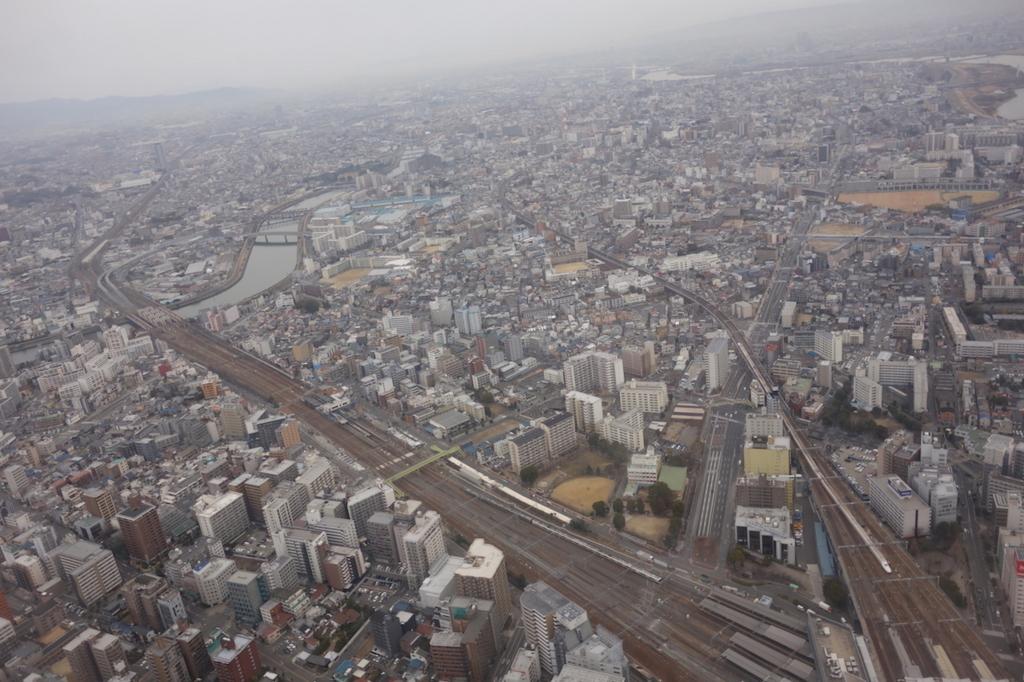 ANA732便から見た大阪城付近の上空(平成30年2月21日)
