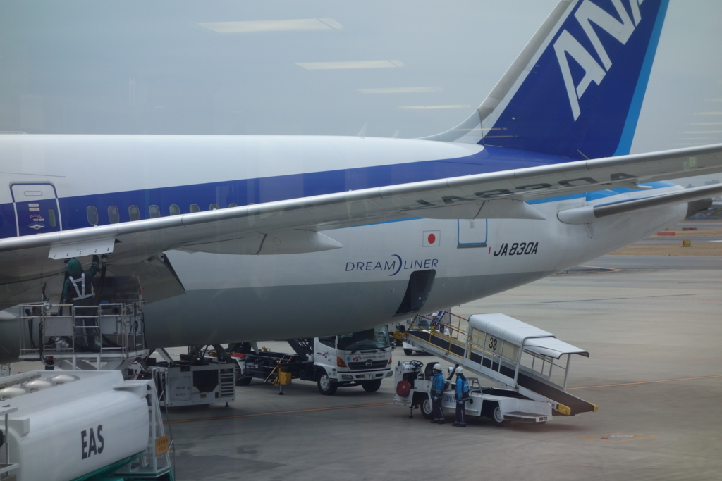 大阪国際空港で出発を待つANA765便ドリームライナー(平成30年2月21日)
