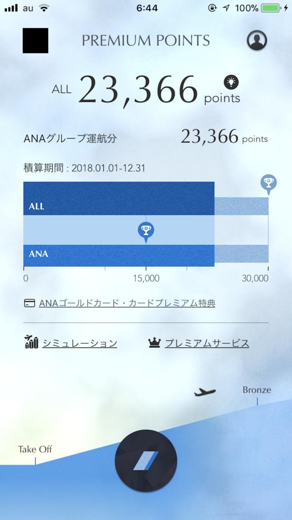 ANAのMileageアプリ画面(SFC修行第四回目)