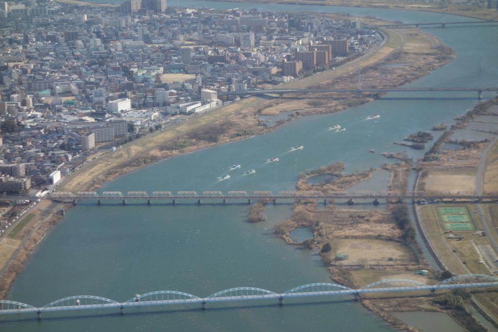 ANA732便から見た淀川上空(平成30年3月1日)
