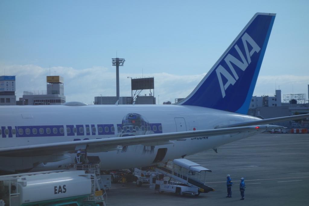 大阪国際空港に到着したANA732便アップ(平成30年3月1日)