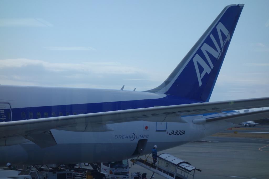 大阪国際空港で出発を待つANA765便ドリームライナー(平成30年3月1日)